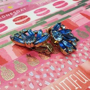 Vintage•2 blue rhinestones•prong set•clip ons•WOW